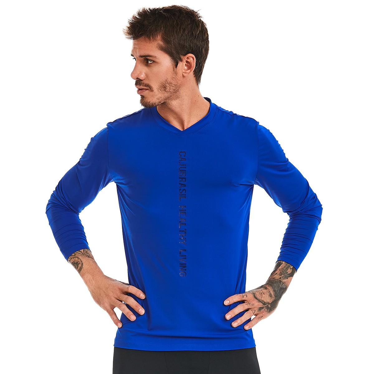 Camiseta Masculina Manga Longa Azul CAJUBRASIL Activewear aae8ae69d247a