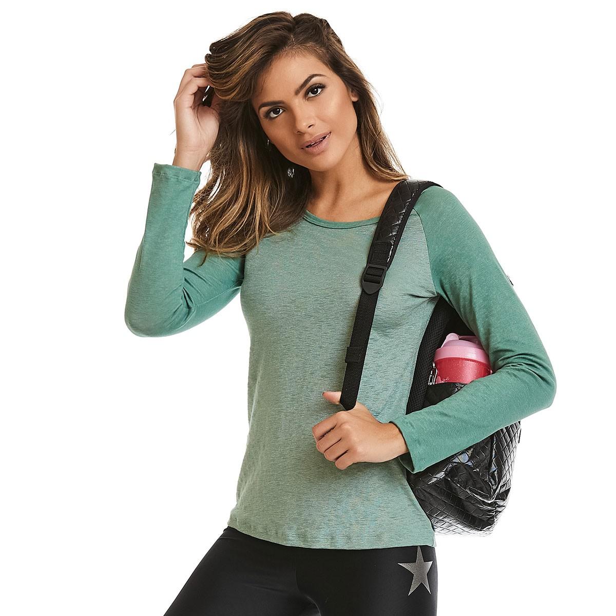 Blusa ML Glow Verde CAJUBRASIL Activewear