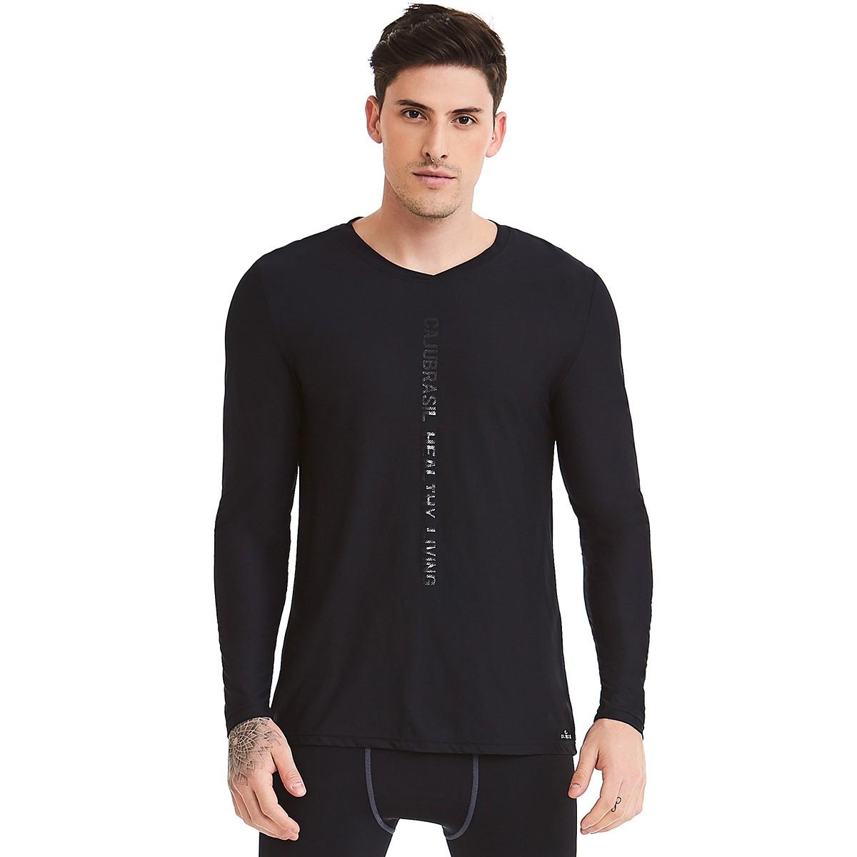 Camiseta Masculina Manga Longa Preto CAJUBRASIL Activewear a39c384cced77