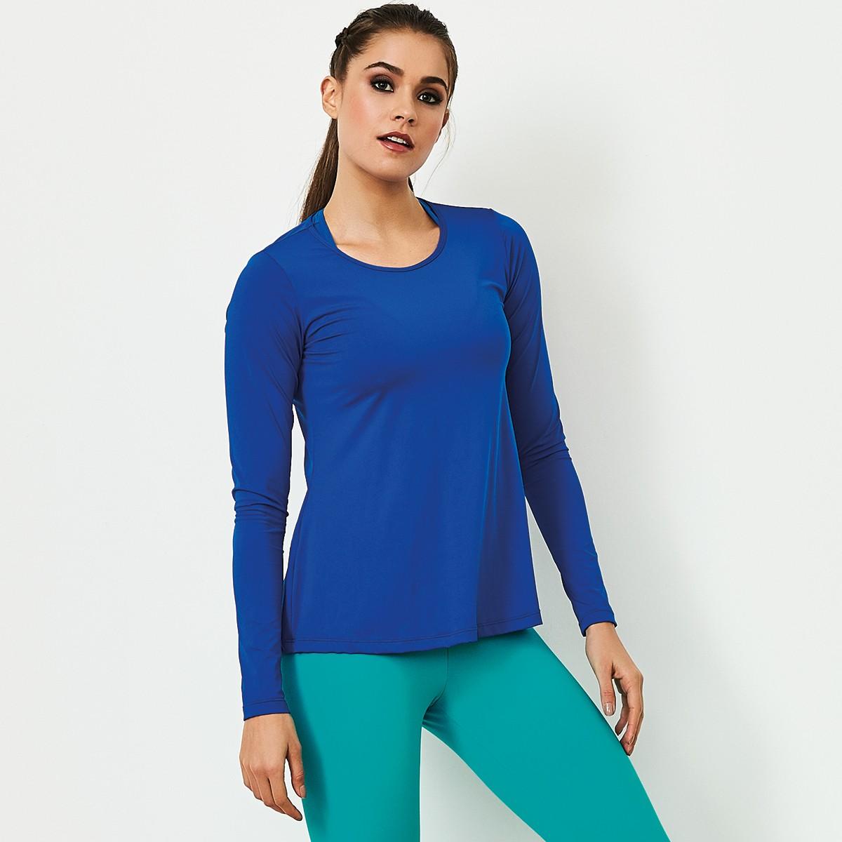 T-Shirt Manga Longa Basic Azul CAJUBRASIL Activewear