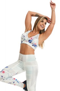 Top Print Perfect White Flowers CAJUBRASIL Activewear