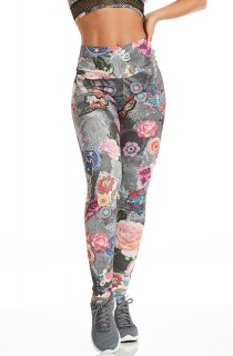 Legging Rock Fancy Patches Cinza CAJUBRASIL Activewear