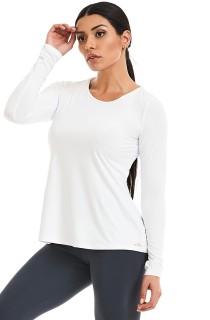 T-Shirt Manga Longa Basic Branca CAJUBRASIL Activewear