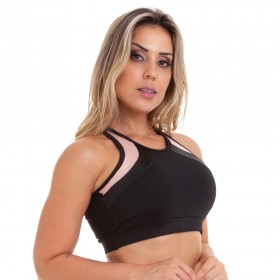 Top Cropped NZ Cheerful Preto